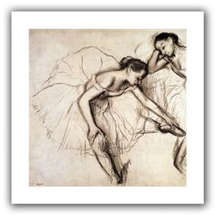 'Two Dancers Resting' by Edgar Degas Canvas Poster