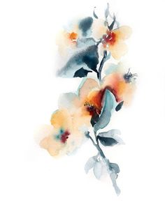 Watercolor Wall Art orange poppies art print, watercolor painting print of poppies