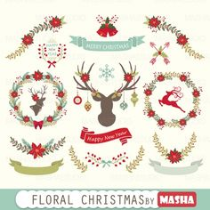#FLORAL CHRISTMAS #CLIPART by @MashaStudio - http://luvly.co/items/4361/FLORAL-CHRISTMAS-CLIPART