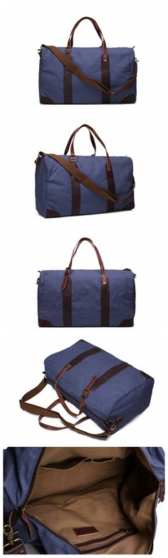 Leather Trimmed Waxed Canvas Travel Bag Duffle Bag Holdall Weekender Bag