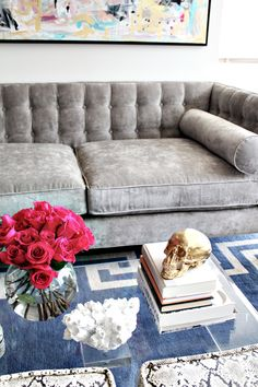 Love all of this: Dove gray, blue and white graphic print rug, metallic accents