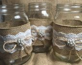 Set of 10 Burlap Quart Mason jar wraps, Rustic wedding, Country wedding, Wedding centerpiece, Rustic mason jar, Wedding decor, Mason wraps