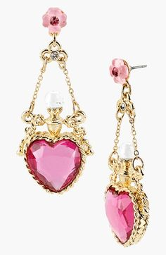 LOVE these earrings! Betsey Johnson 'Fairyland' Crystal Heart Drop Earrings available at #Nordstrom