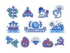 Tattoo Icons designed by Kevin Moran. Connect with them on Dribbble; Branding Design, Logo Design, Graphic Design, Flat Design, Icon Gif, Elephant Logo, Doodle Icon, Line Illustration, Line Icon
