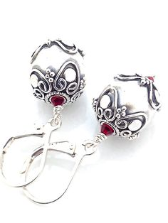 925 Silver Earring, Sterling Silver, Red Crystal, Oxidized, Ornate from UrbanClink