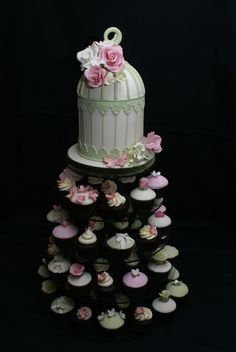 Birdcage cupcake tower wedding cake