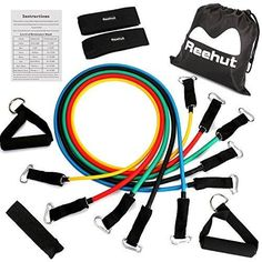 Reehut Resistance Bands - 12-Piece Set Includes 5 Exercise Tubes Door Anchor 2 Foam Handles 2 Ankle Straps Manual and Carrying Case