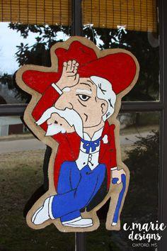 Fins Up Colonel Reb Burlap Door Hanger by CMarieDesignsOxford Front Door Decor, Wreaths For Front Door, Door Wreath, Front Doors, Ole Miss Football, Burlap Door Hangers, Ole Miss Rebels, College Fun, Blue Pants