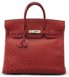 """A ROUGE VIF OSTRICH HAC BIRKIN 32 BAGHERMÈS, 2004Palladium Hardware, interior is Rouge Vif Chèvre Leather with one zip pocket and one slip pocket. Includes lock, keys, clochette, dustcover, and dustbag.13"""" W x 10"""" H x 6½"""" DBlindstamp H SquareStruthio Camelus, South African population"""