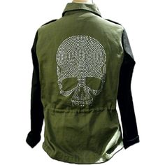 Military Style Utility Jacket w/Rhinestone Skull With black faux-leather sleeves, military style metal stud embellishments & rhinestone skull detail, this army green utilitarian jacket fr.Love Culture marries functionality w/fashion! The jacket is warm w/out being bulky & handles cold weather w/ease ┍━━━━┑    ∙ DETAILS ∙    ┕━━━━┙  ┝ cond.┥EXCELLENT w/very minor flaws  ┝ sz┥L  ┝ ft.┥Heavy canvas fabric; tons of pockets; drawstring waist; double zipper/button closure ┝ notes┥3 missing…
