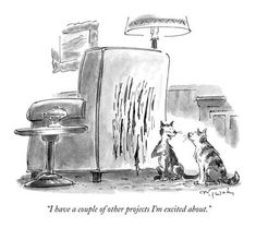 """size: Premium Giclee Print: """"I have a couple of other projects I'm excited about."""" - New Yorker Cartoon by Mike Twohy : Cartoon Posters, A Cartoon, Cartoon Drawings, Ladybug E Catnoir, Funny New, Funny Stuff, Cat Stuff, It's Funny, Funny Quotes"""