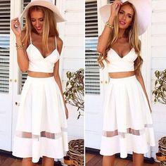 1Set Women Two Piece Crop Top Midi Skirt Set Summer Holiday Beach Skirt Trendy #UnbrandedGeneric #BeachSkirt #SummerBeach