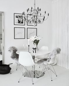 Modern Scandinavian dining room with all interior in white and details in black. Dining Room Inspiration, Interior Inspiration, Monochrome Interior, Interior Design, Room Interior, Inside A House, Scandinavian Home, Dining Table Chairs, My Living Room