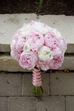 Bouquet mariée - Pivoines roses pâles & blanches