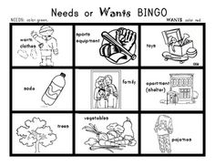 Printables Needs And Wants Worksheets i can sort needs and wants picture worksheet bingo game social studies for kindergarten first grade