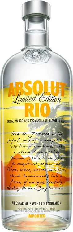 Absolut RIO | Orange, mango & passion fruit flavored vodka | Designed by Brazilian artist Oskar Metsavaht | City & Countries series. International Editions