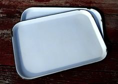 my new favorite tray to work off of for jewelry Porcelain enamel tray via Etsy $15