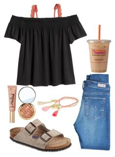 """Read the description!!"" by summerhlx ❤ liked on Polyvore featuring Hanky Panky, AG Adriano Goldschmied, Birkenstock, River Island and Too Faced Cosmetics"