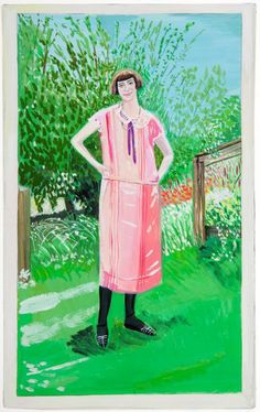 Girl in Pink Dress, 2013 gouache on paper 10 x 7 3/4