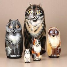 Beautiful Cats Nesting Doll
