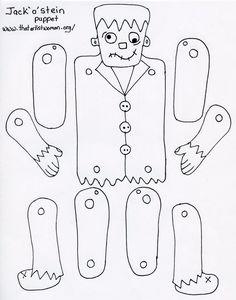 DIY - Frankenstein paper doll (Source : https://docs.google.com/file/d/0BxpcE-ckgp8hMWIyZWRhZTktOTAzOS00ZjgzLWEzNTctZTJiNDk0MGQ5ZmQ1/edit?hl=en_US=1) #halloween #kids