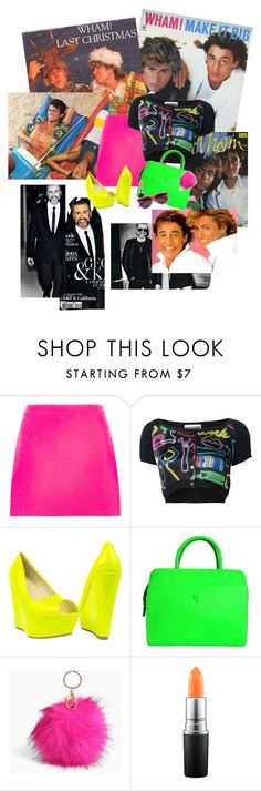 """RIP George Michael 80's Neon trend"" by irish-mcbride on Polyvore featuring Versace, Moschino, Torrid, MAC Cosmetics and Yves Saint Laurent"