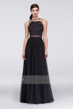 Two-Piece Sleeveless High Neck Yarn Back Tulle Black Prom Dress