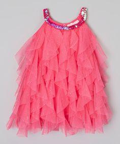 Look at this Hot Pink Sparkle Ruffle Dress - Infant, Toddler & Girls on #zulily today!