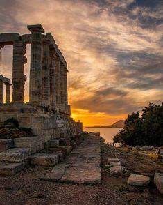 Cape Sounion - Temple of Poseidon, Attica, Greece Greece Photography, World Photography, Italy Travel Tips, Greece Travel, Places To Travel, Places To See, Athens Greece, Attica Greece, Ancient Greece