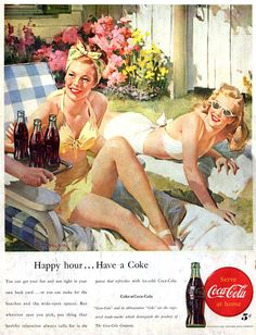 Coca-Cola illustration by Haddon Sundblom, who also illustrated Coke's classic Christmas holiday ads featuring his signature vision of Santa Claus. Pub Coca, Coca Cola Ad, Coke Ad, Images Vintage, Vintage Pictures, Vintage Coke, Arte Pop, Retro Art, Vintage Advertisements