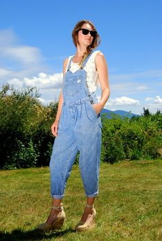 Women Denim Overalls Small| Vintage 90s GUESS Overalls w/ Sweetheart Neckline | Light Wash Denim Jumpsuit 90s Grunge Guess Jeans Dungarees
