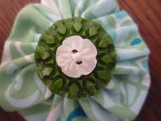 Hair clip: fabric and button - green and white by MagpieSailor, $6.50