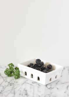 White Ceramic Berry Basket