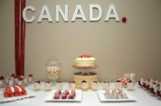 With free printables Polkadot Prints: Canada Day Party :: Dessert Table Canada Celebrations, Brownie Cake Pops, Canada Day Party, Desert Table, Party Desserts, Holidays And Events, Yummy Treats, Event Ideas, Party Ideas