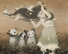Amazing Paintings Las Vegas, Nevada based artist by Amy Sol. Amy typically paints upon treated wooden panel, incorporating the grain of the wood into the Art And Illustration, Arte Lowbrow, Amazing Paintings, Amazing Art, Amy Sol, Art Fantaisiste, Wow Art, Pop Surrealism, Whimsical Art