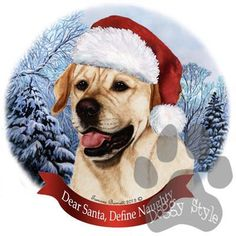 Yellow Labrador Howliday Dog Christmas Ornament http://doggystylegifts.com/products/yellow-labrador-howliday-dog-christmas-ornament