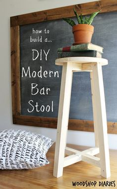 How To Build A Super Simple Modern Diy Bar Stool From Some Scraps And Boards Free Building Plans And Super Easy Tutorial. Incredible Beginner Woodworking Project And Could Be Used For Bar Stool, Plant Stand, Desk Stool, Step Stool, Whatever You Want