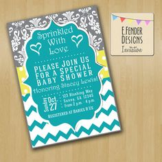 Items similar to Sprinkled With Love Baby Shower Printable Invitation with Damask, Chevron, and Dot Designs in Yellow, Turquoise, and Grey on Etsy Sprinkle Invitations, Printable Invitations, Dot Designs, Sprinkle Shower, Baby Theme, Yellow Turquoise, Babies R Us, Baby Shower Printables, Love Photography