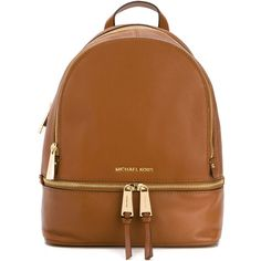 Michael Michael Kors Double Zip Backpack ($341) ❤ liked on Polyvore featuring bags, backpacks, brown, brown bag, michael michael kors, leather bags, leather rucksack and michael michael kors bags