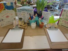 "Make sure writing areas have provocation to inspire Mark making Our ""Imaginary Garden"" provocation at the writing centre"