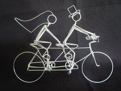 Tandem Bike with Riders Wedding Cake Topper. $70.00, via Etsy.