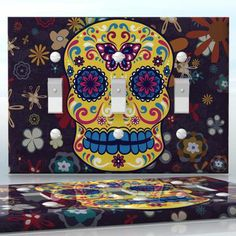 DIY Do It Yourself Home Decor - Easy to apply wall plate wraps | Sugar Skull Colorful skull on flower pattern wallplate skin sticker for 3 Gang Toggle LightSwitch | On SALE now only $5.95