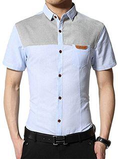 aac3f24c APTRO Men's 100% Cotton Splice Short Sleeves Fashion Casual Shirt Light  Blue S APTRO http