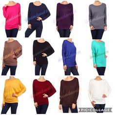 Long Sleeved Dolman Tops (S-3X) 🔹Colors: Fuschia, Navy, Plum, Steel, Mocha, Black, Royal Blue, Mint, Golden Yellow, Wine, Chocolate Brown, Ivory 🔹Check with me for sizes and availability. Or, feel free to check my closet. 👍 CC Boutique  Tops Tees - Long Sleeve