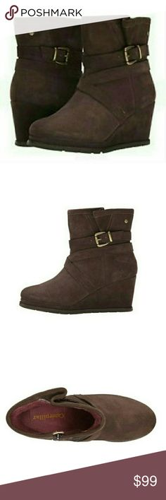 Caterpillar Bermuse Brown Wedge Boots The Caterpillar CasualBemuse Boots are the perfect blend of edge and sophistication.  Heel Height: 2 1/2 in.  Step into the season with the chic boots  The Caterpillar Casual boots have leather upper, suede details, side zip detailing for subtle style that completes any outfit. Caterpillar Shoes Ankle Boots & Booties
