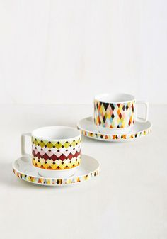 Appeals to My Palette Tea Set. Your morning tea is smoothly brewed and expertly blended, but one thing is still missing - this ceramic cup and saucer set! #multi #modcloth