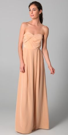 "Inpiration Zimmerman Strapless Tucked Maxi Dress, Washed Silk, ""Bellini"""