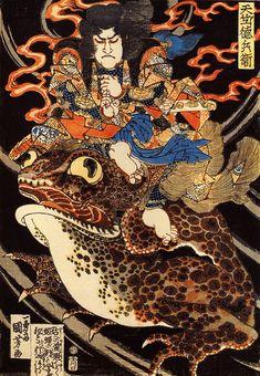 (Image of ukiyo-e master Utagawa Kuniyoshi-end of the Edo period) India Tokubei Japanese Artwork, Japanese Painting, Japanese Prints, Japanese Mythology, Japanese Folklore, Japan Illustration, Samurai, Grand Art, Hokusai