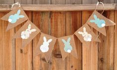 $22.00. Easter Bunny Burlap and Fabric Bunting // Easter by LisaTCreations