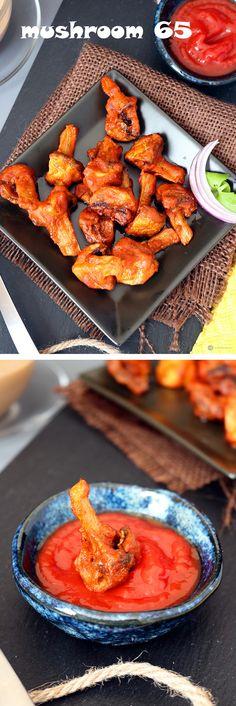 vegetarian recipes Dishes Mushroom 65 - An Indian appetizer or sn. vegetarian recipes Dishes Mushroom 65 – An Indian appetizer or snack to bite along Mushroom Recipes Indian, Indian Food Recipes, Vegetarian Recipes, Snack Recipes, Curry Recipes, Rice Recipes, Kitchen Recipes, Chicken Recipes, Recipies